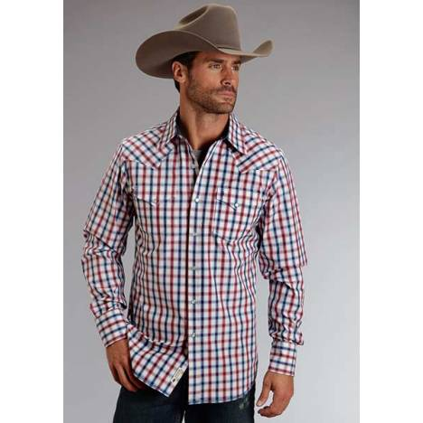 Stetson Mens Original Rugged Ombre Check Long Sleeve Snap Shirt
