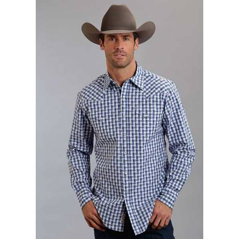Stetson Mens Original Rugged Optic Plaid Long Sleeve Snap Shirt