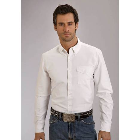 Stetson Mens Original Rugged Vintage Solid Oxford Long Sleeve Button Shirt