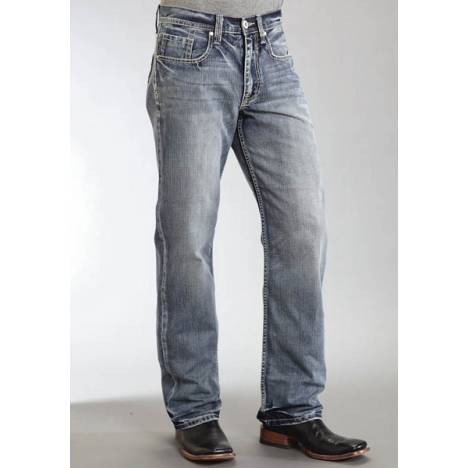 Stetson Mens Pieced Back Pocket Using Wrong Side Denim Jeans