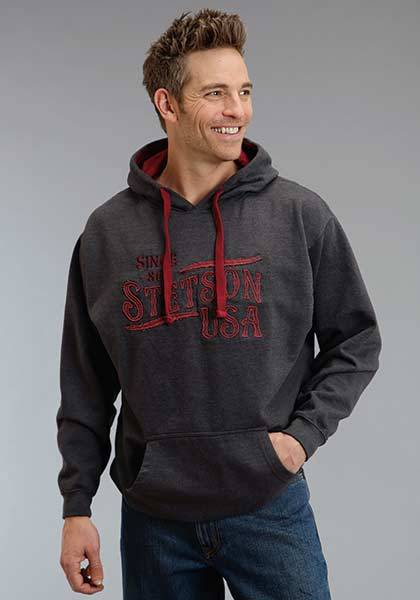 Stetson Mens Stetson USA Applique Hooded Sweatshirt