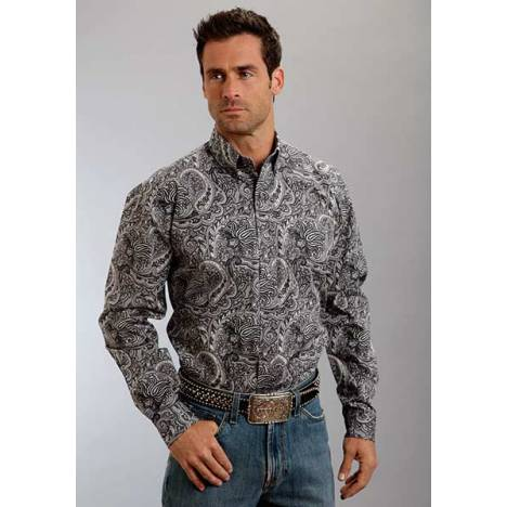 Stetson Mens Spring I Neptune Paisley Long Sleeve Button Shirt