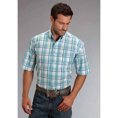 Stetson Mens Spring III Blue Springs Plaid Short Sleeve Button Shirt