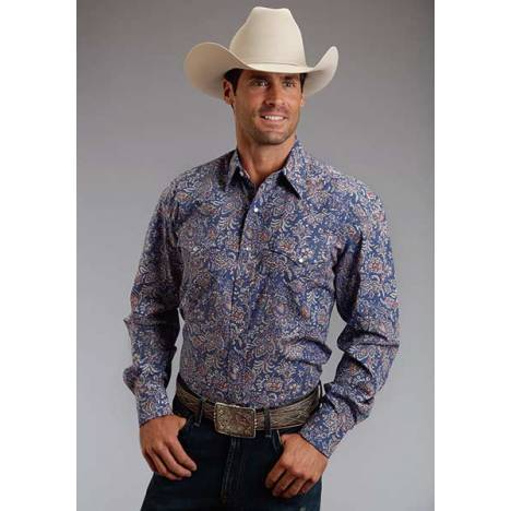 Stetson Mens Summer I Brocade Paisley Long Sleeve Snap Shirt