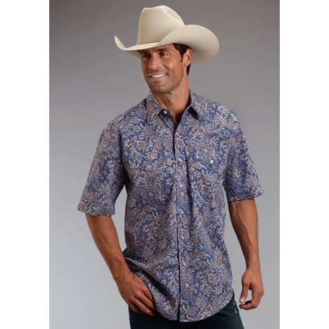 Stetson Mens Summer I Brocade Paisley Short Sleeve Snap Shirt