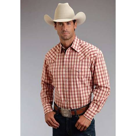Stetson Mens Summer I Spectral Check Long Sleeve Snap Shirt