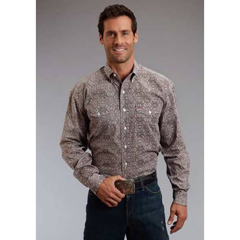 Stetson Mens Summer II Mirror Medallion Long Sleeve Button Shirt
