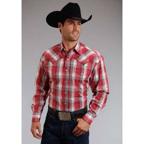 Stetson Mens Summer II Red Barn Ombre Long Sleeve Snap Shirt