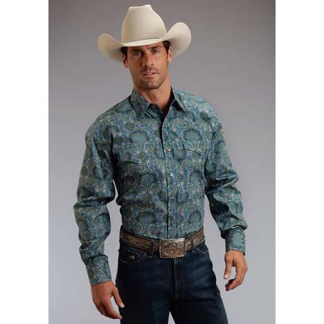 Stetson Mens Summer III French Paisley Long Sleeve Snap Shirt