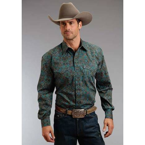 Stetson Mens Winter II Medallion Paisley Long Sleeve Snap Shirt