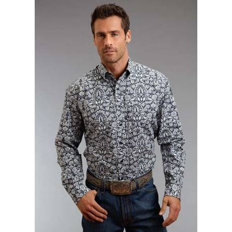 Stetson Mens Winter III Morris Tapestry Print Long Sleeve Button Shirt