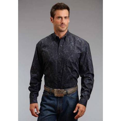 Stetson Mens Winter III Spotted Paisley Long Sleeve Button Shirt