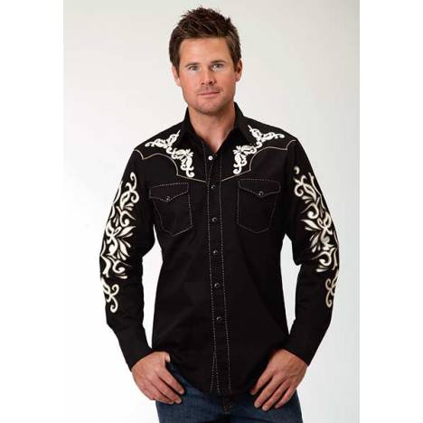 Roper Old West Mens Crme Applique Patch Pocket Long Sleeve Snap Shirt
