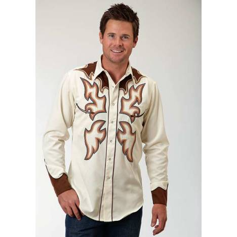 Roper Old West Mens Flame Stitch Long Sleeve Snap Front Shirt