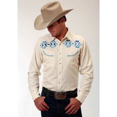 Roper Old West Mens Ombre Aztec Embroidered Long Sleeve Snap Shirt