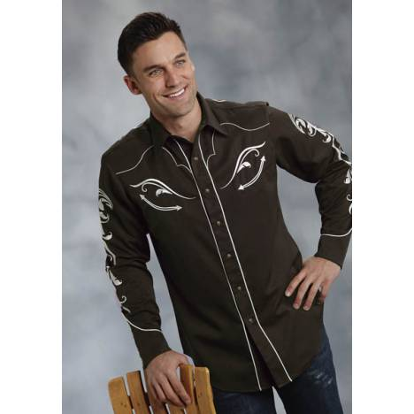 Roper Old West Mens Ornate Scroll Embroidery Twill Long Sleeve Snap Shirt