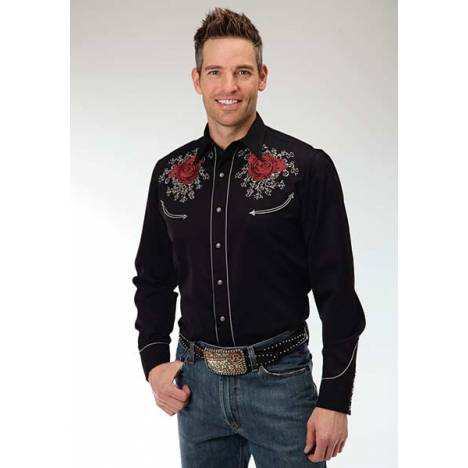 Roper Old West Mens Rose & Skull Embroidery Long Sleeve Snap Shirt