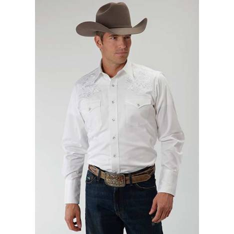 Roper Old West Mens Tonal Victorian Long Sleeve Snap Shirt