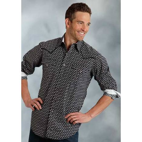 Roper Performance Spring Ii Mens Half Triangle Print Long Sleeve Snap Shirt