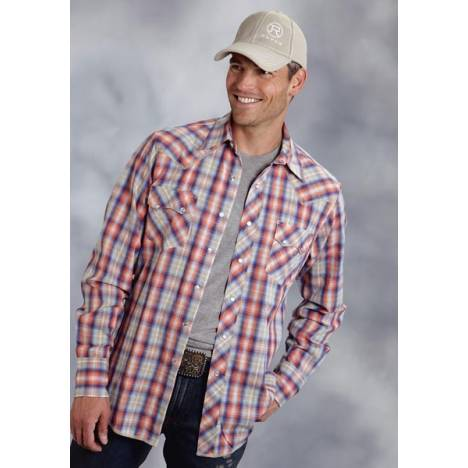 Roper Performance Summer I Mens Sunset Plaid Long Sleeve Pearl Snap Shirt
