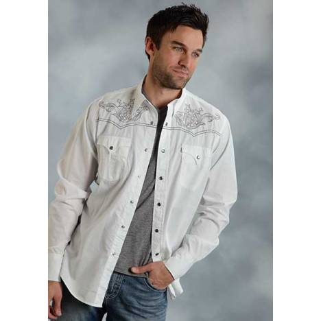 Roper Performance Fall I Mens Solid Poplin 3 Point Yokes Long Sleeve Snap Shirt