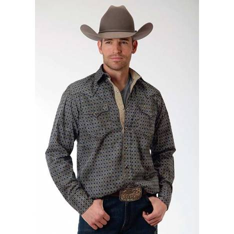 Roper Performance Mens Aztec Geo Long Sleeve Pearl Snap Shirt