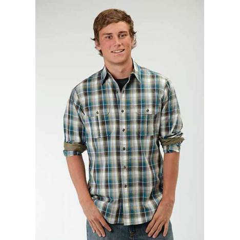 Roper Performance Mens Buffalo Line Plaid Long Sleeve Button Shirt