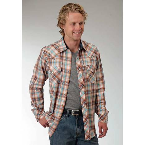 Roper Performance Mens Central Dobby Plaid Long Sleeve Pearl Snap Shirt