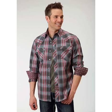 Roper Performance Mens Dark Rose Plaid Dobby Long Sleeve Opaque Snap Shirt