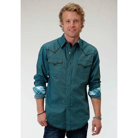 Roper Performance Mens Ex-Geo Long Sleeve Print Snap Shirt