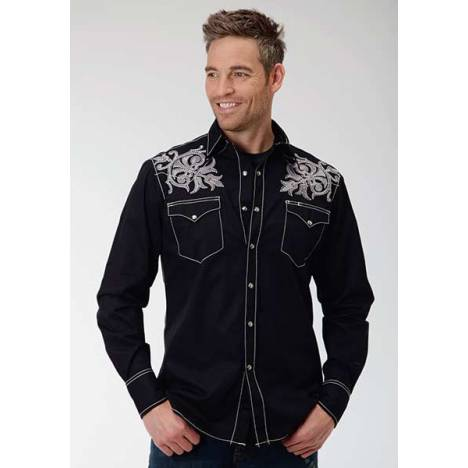 Roper Performance Mens Poplin Embroidery Long Sleeve Pearl Snap Shirt - Black