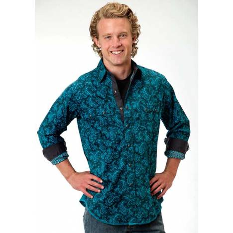 Roper Performance Mens River Paisley Western Long Sleeve Snap Shirt
