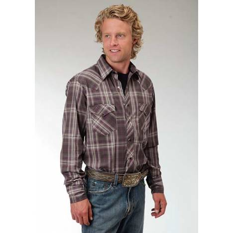 Roper Performance Mens Royal Plaid Western Long Sleeve Snap Shirt