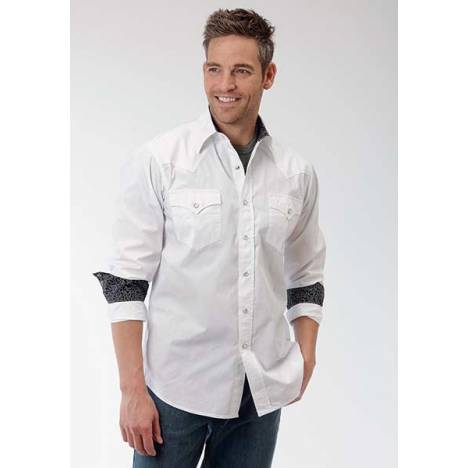 Roper Performance Mens Solid Poplin Western Long Sleeve Pearl Snap Shirt - White