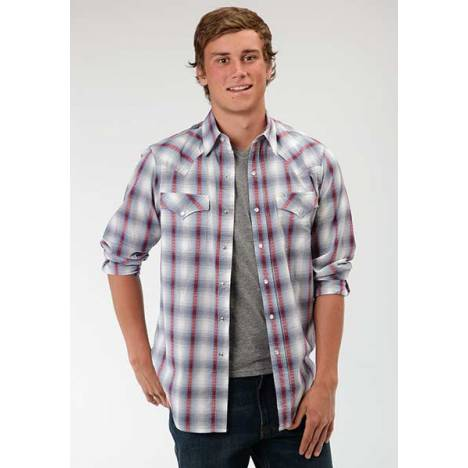 Roper Performance Mens Sunset Dobby Plaid Long Sleeve Western Pearl Snap Shirt