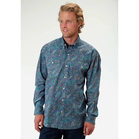 Roper Mens Amarillo Antique Paisley Long Sleeve Button Shirt - Aqua