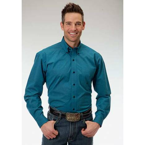 Roper Mens Amarillo Back Fill Poplin Open Pocket Long Sleeve Button Shirt - Teal