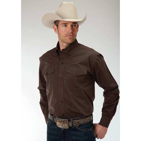 Roper Mens Amarillo Black Fill Poplin Back Yoke Long Sleeve Button Shirt - Brown