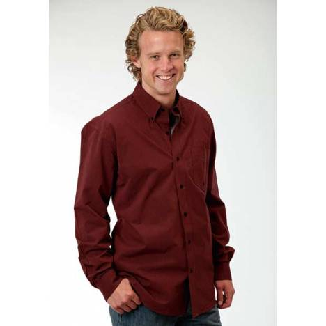 Roper Mens Amarillo Black Fill Poplin Pocket Long Sleeve Button Shirt - Rust