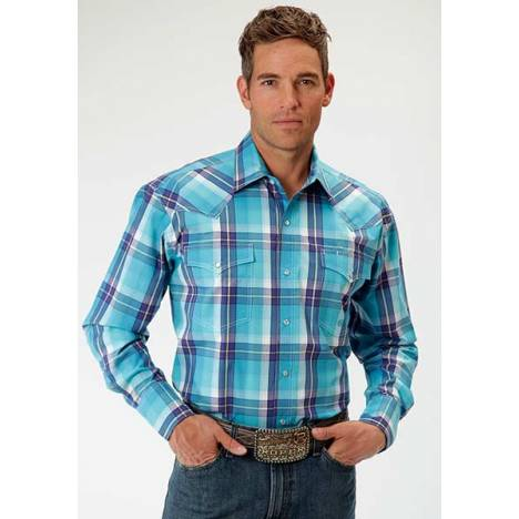 Roper Mens Amarillo Blue River Plaid Long Sleeve Western Snap Shirt - Aqua