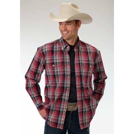 Roper Mens Amarillo Brick Plaid Two Pocket Long Sleeve Button Shirt