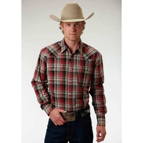Roper Mens Amarillo Brick Plaid Western Long Sleeve Snap Shirt