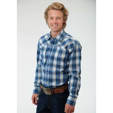 Roper Mens Amarillo Green River Plaid Long Sleeve Snap Shirt - Blue