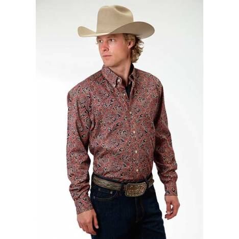 Roper Mens Amarillo Layered Paisley Long Sleeve Button Shirt