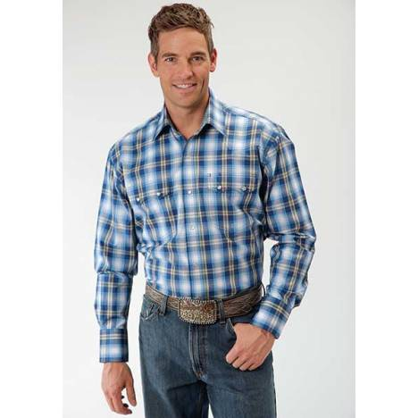 Roper Mens Amarillo May Day Plaid Long Sleeve Western Snap Shirt