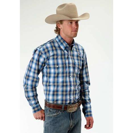 Roper Mens Amarillo May Day Plaid Two Pocket Long Sleeve Button Shirt