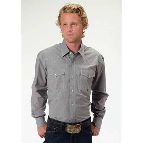 Roper Mens Amarillo Mini Check Long Sleeve Snap Shirt - Black