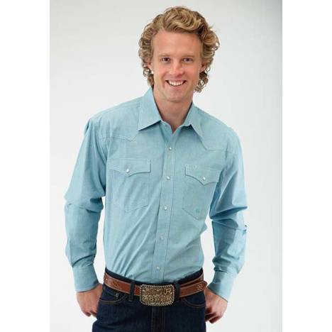 Roper Mens Amarillo Mini Check Plaid Long Sleeve Snap Shirt - Turquoise