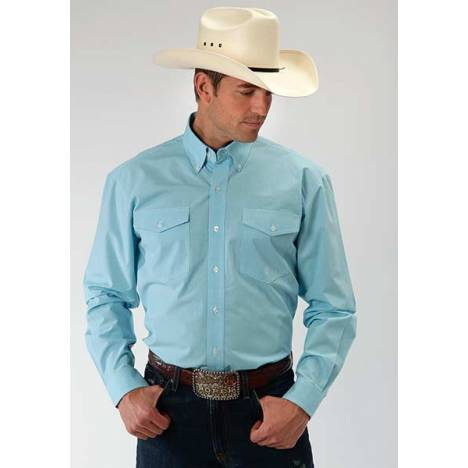 Roper Mens Amarillo Mini Checks Long Sleeve Button Shirt - Turquoise Blue