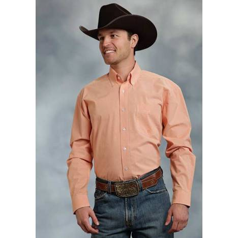Roper Mens Amarillo Mini Checks Open Pocket Long Sleeve Button Shirt - Orange